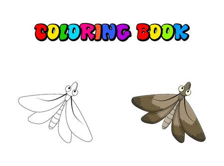 Cartoon moth coloring book insect isolated on white background