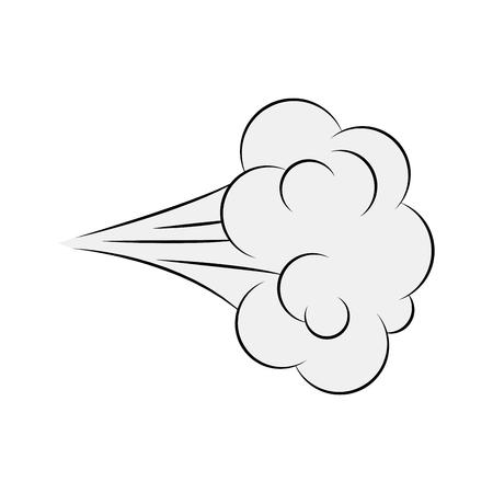 Kreskówka cios, komiks dym na białym tle