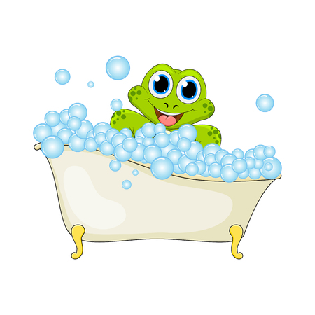 Cartoon frog in foam bath isolated on white background
