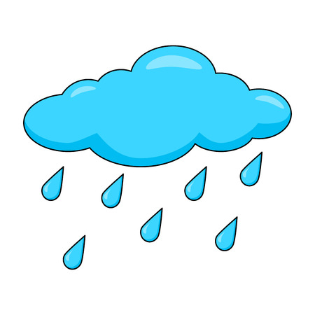 Cartoon cloud with rain drops isolated on white background