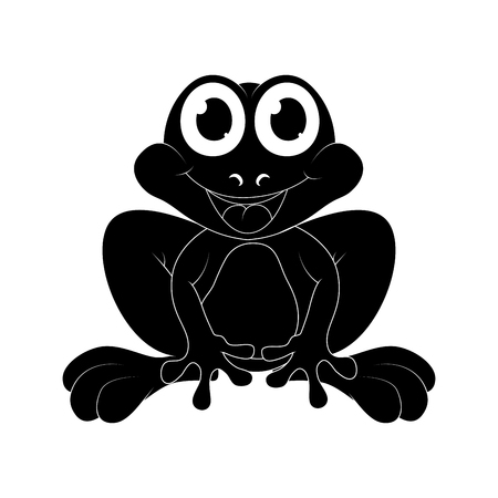 Cartoon frog silhouette isolated on white background  Illustration