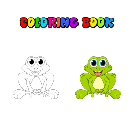 Cartoon frog coloring book isolated on white background
