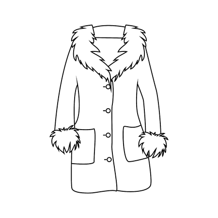 Cartoon Fur Winter Coat Outline Isolated On White Background Royalty