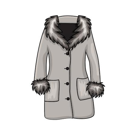 Abrigo de invierno de piel de dibujos animados aislado sobre fondo blanco