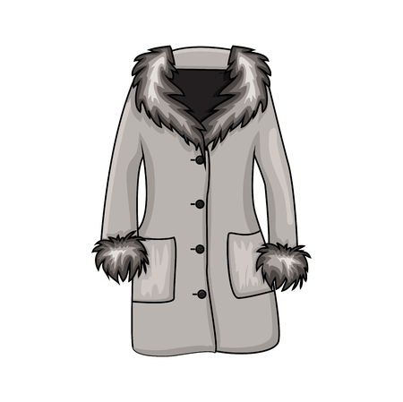 Cappotto di inverno della pelliccia del fumetto isolato su priorità bassa bianca