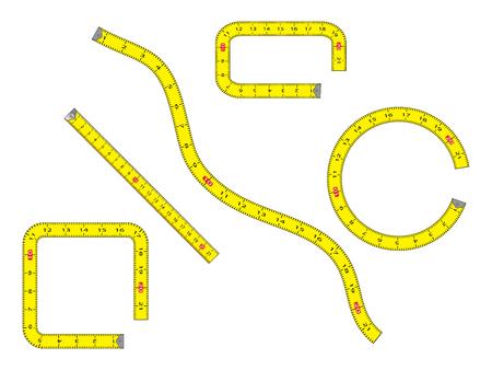 cartoon measure tape set isolated on white background