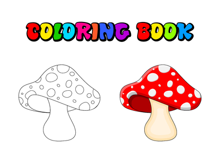 cartoon  toadstool coloring book isolated on white background