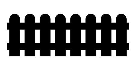 Wooden fence. Simple silhouette design isolated on white