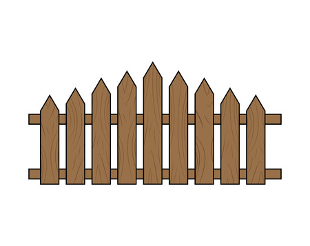 Wooden fence.  Simple  design isolated on white background