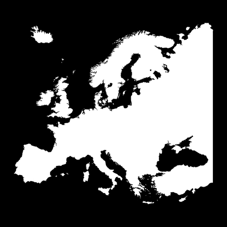 Map of Europe silhouette design isolate on black