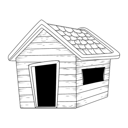 wooden house outline vector design isolated on white