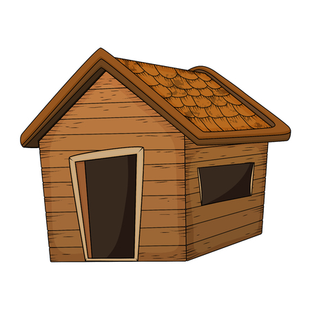 wooden house cartoon vector design isolated on white Illustration