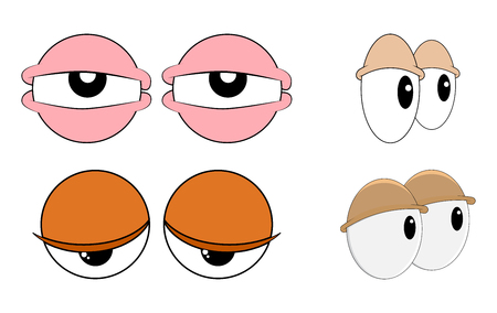 tired, sleepy eyes set for comic book character vector design isolated on white