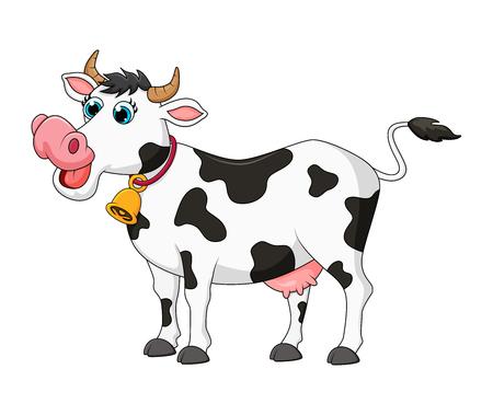 niedliches Design der weiblichen Kuh der Karikatur lokalisiert auf weißem Hintergrund