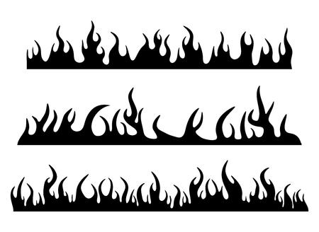 Burning fire flame silhouette set banner horizontal design isolated on white Stock fotó - 103581251