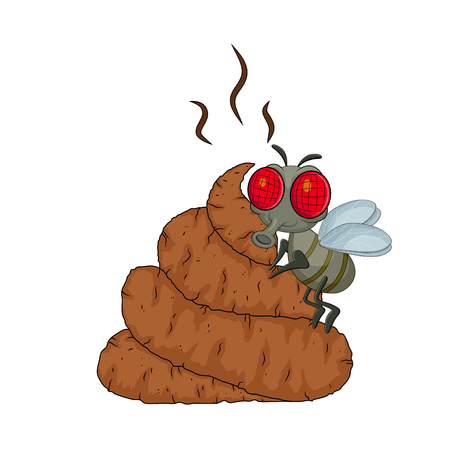 cartoon poop, shit and flys isolated on white background