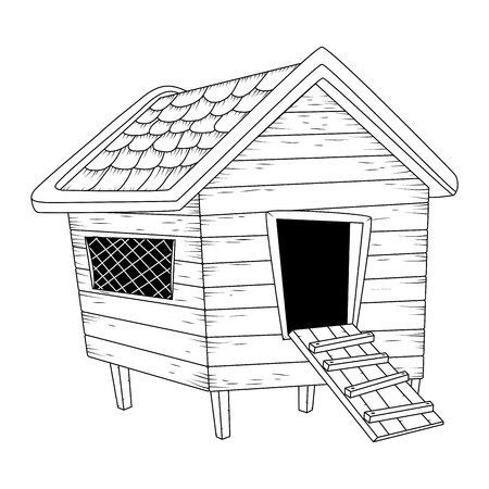 cartoon chicken coop outline isolated on white background