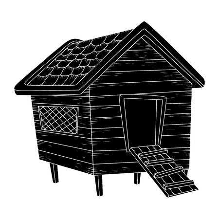 cartoon chicken coop silhouiette isolated on white background