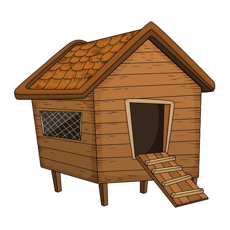 cartoon chicken coop design isolated on white background