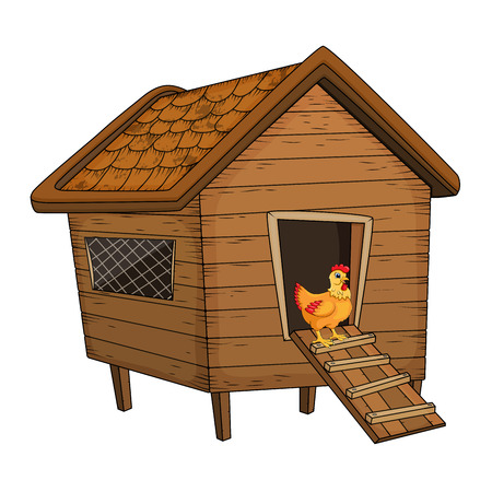 cartoon kippenhok en kip geïsoleerd op een witte achtergrond