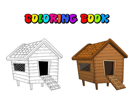 cartoon chicken coop coloring book isolated on white background