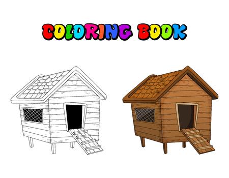 Cartoon Hühnerstall Malbuch lokalisiert auf weißem Hintergrund