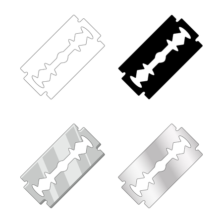 razor blade set design isolated on white background