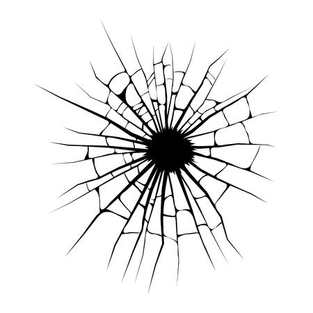 broken window, cracks hole vector design isolated on white background  イラスト・ベクター素材
