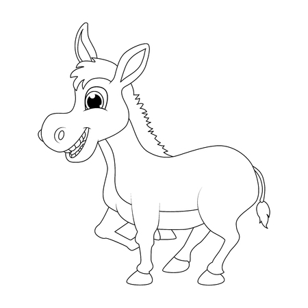 donkey cartoon character outline vector design isolated on white background