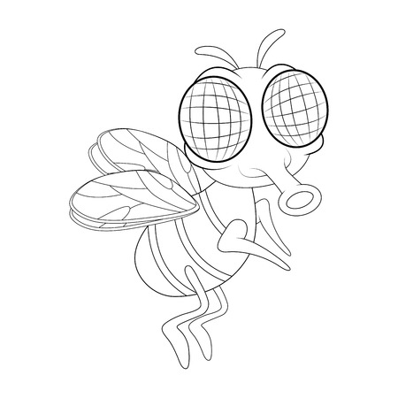 fly cartoon character vector design isolated on white background Ilustracja
