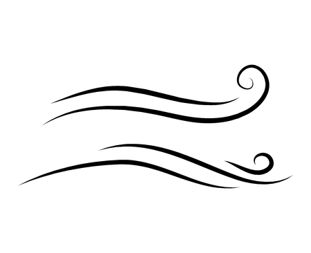 colpo di scarabocchio del vento, design a raffica isolato su sfondo bianco