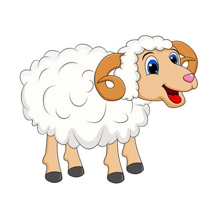 Diseño de carnero blanco de dibujos animados aislado sobre fondo blanco. Ilustración de vector