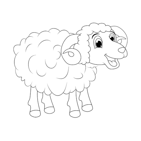 cartoon outline ram design isolated on white background Ilustracja