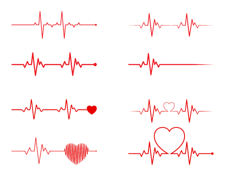 Conjunto de ritmo cardíaco, electrocardiograma, ECG - señal EKG, diseño de concepto de línea de pulso Heart Beat aislado sobre fondo blanco. Ilustración de vector