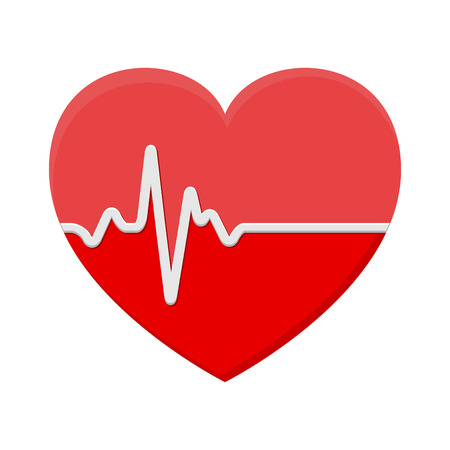 heart and ECG - EKG signal, Heart Beat pulse line concept design isolated on white background