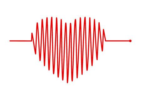 cuore ed ECG - Segnale ECG, design del concetto di linea di impulso del battito cardiaco isolato su sfondo bianco Vettoriali