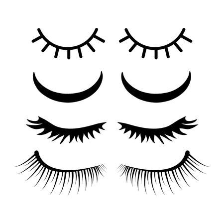 closed eyes with lashes set design isolated on white background
