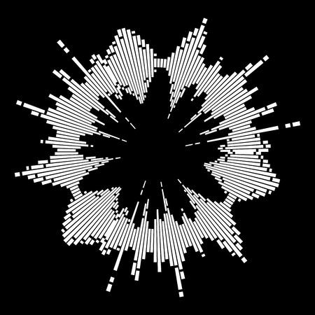 Round music wave equalizer sound symbol icon design isolated on black background