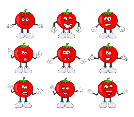 Funny tomato character set cartoon design isolated on white background