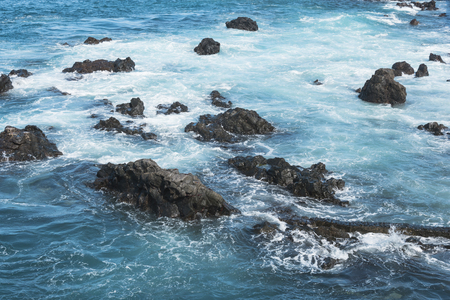 blue ocean water and rocks. beautiful landscape of Canary Islands Stok Fotoğraf