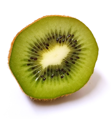 Kiwi green slice fruit isolated on white background