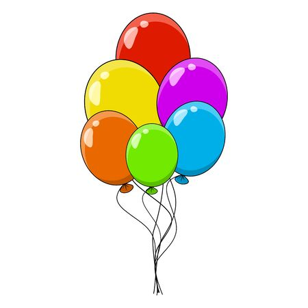 balloon bunch, group cartoon illustration  isolated on white background