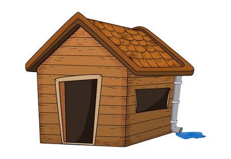 Haus mit Dachrinnendach mit Regenpfütze Cartoon Illustration isoliert auf weißem Hintergrund Vektorgrafik