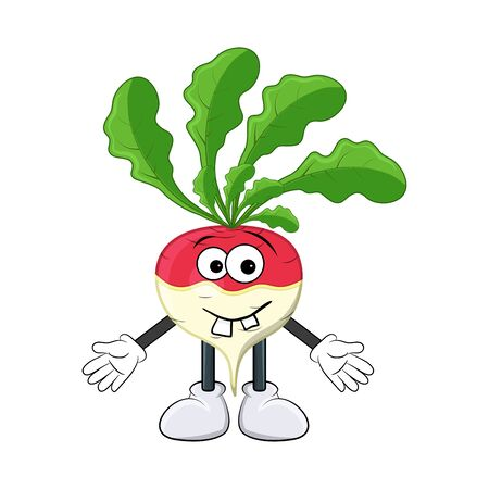 turnip happy cartoon character illustration  isolated on white background