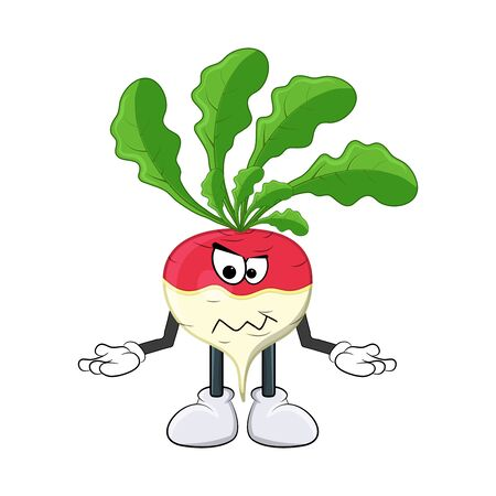 turnip angry, mad cartoon character illustration  isolated on white background