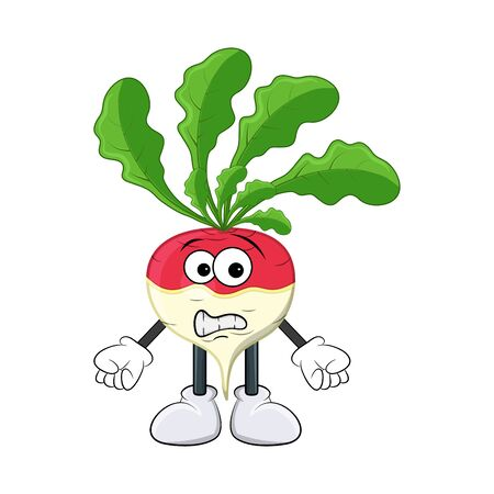 turnip worried, scared cartoon character illustration  isolated on white background