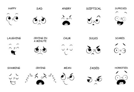 face expressions with names for comic book, cartoon character isolated on white