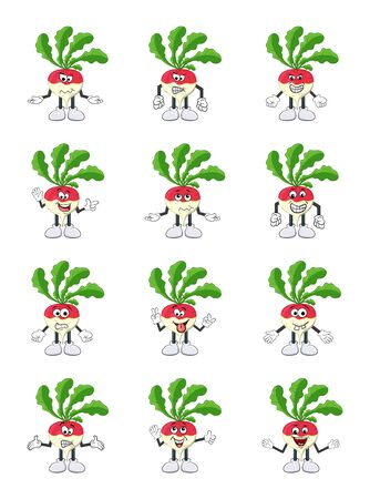 turnip set cartoon character illustration  isolated on white background