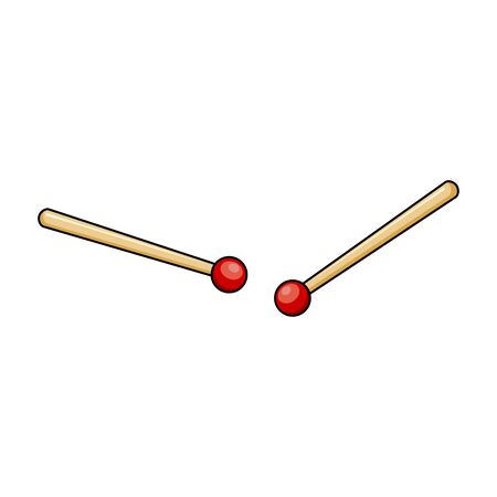 Drum sticks cartoon icon symbol design isolated on white background Çizim