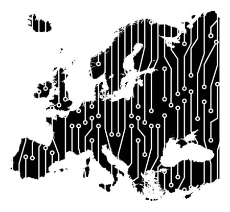 europe map circuit board concept background wallpaper.